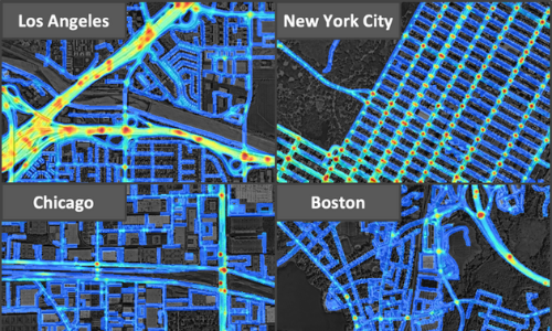 High-resolution crash risk maps for Boston, Chicago, Los Angeles, and New York City.